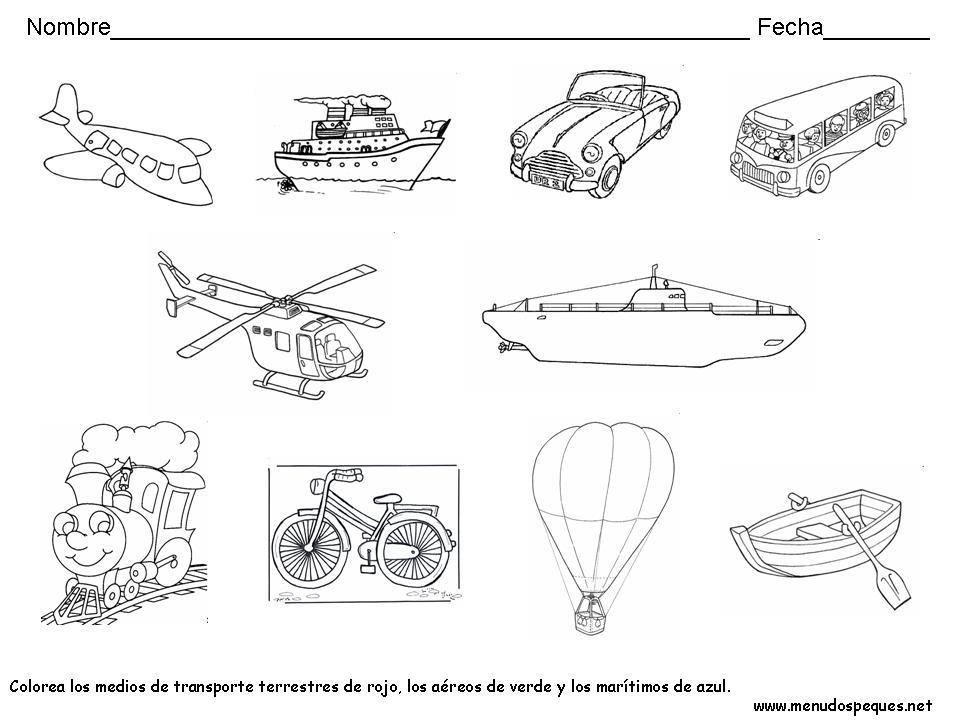 Fichas Para Colorear Los Medios De Transporte