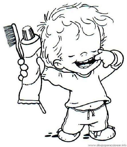 Dibujos para colorear de niños cepillandose los dientes - Imagui