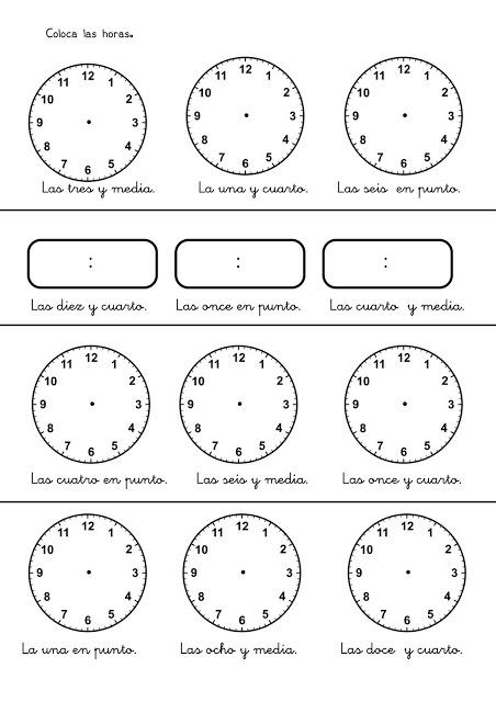 Fichas con ejercicios para aprender las horas del reloj - Dibujos de relojes para imprimir ...