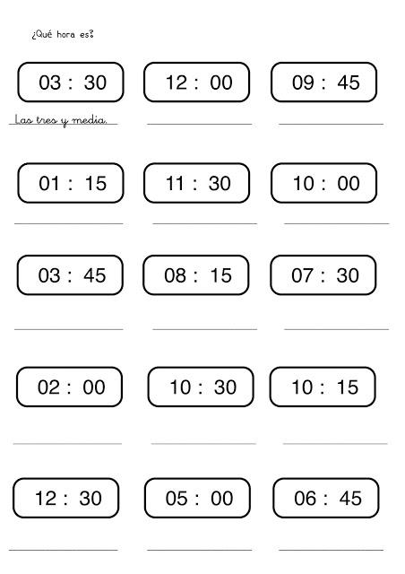 Fichas con ejercicios para aprender las horas del reloj for En y frances ejercicios