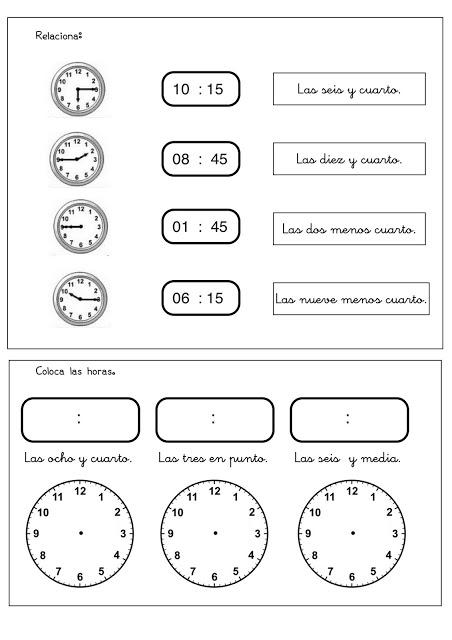 Fichas para aprender las horas del reloj - Escuela en la nube