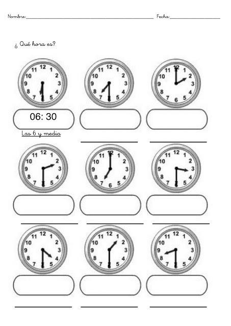 Fichas Con Ejercicios Para Aprender Las Horas Del Reloj En Primaria