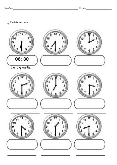 Ficha de relojes para imprimir - Imagui