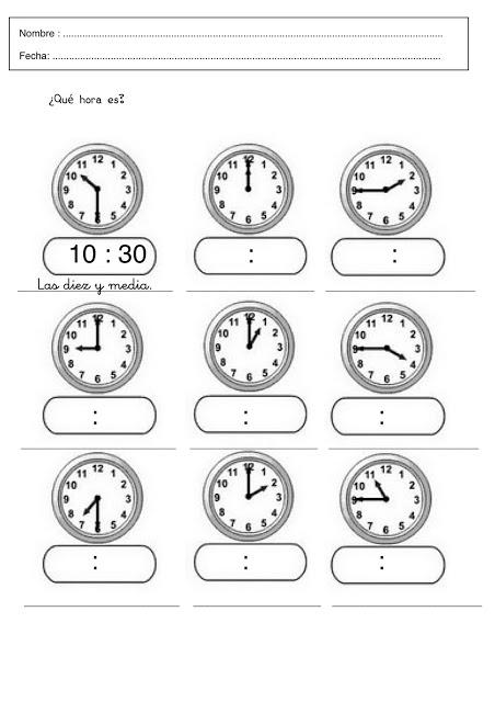 Ejercicios para aprender las horas del reloj para imprimir - Imagui