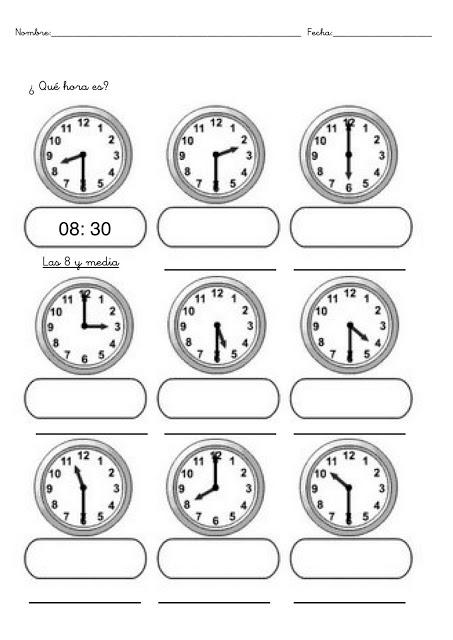Fichas con ejercicios para aprender las horas del reloj   Escuela en ...