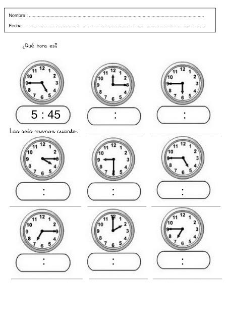 Fichas de relojes para imprimir - Imagui
