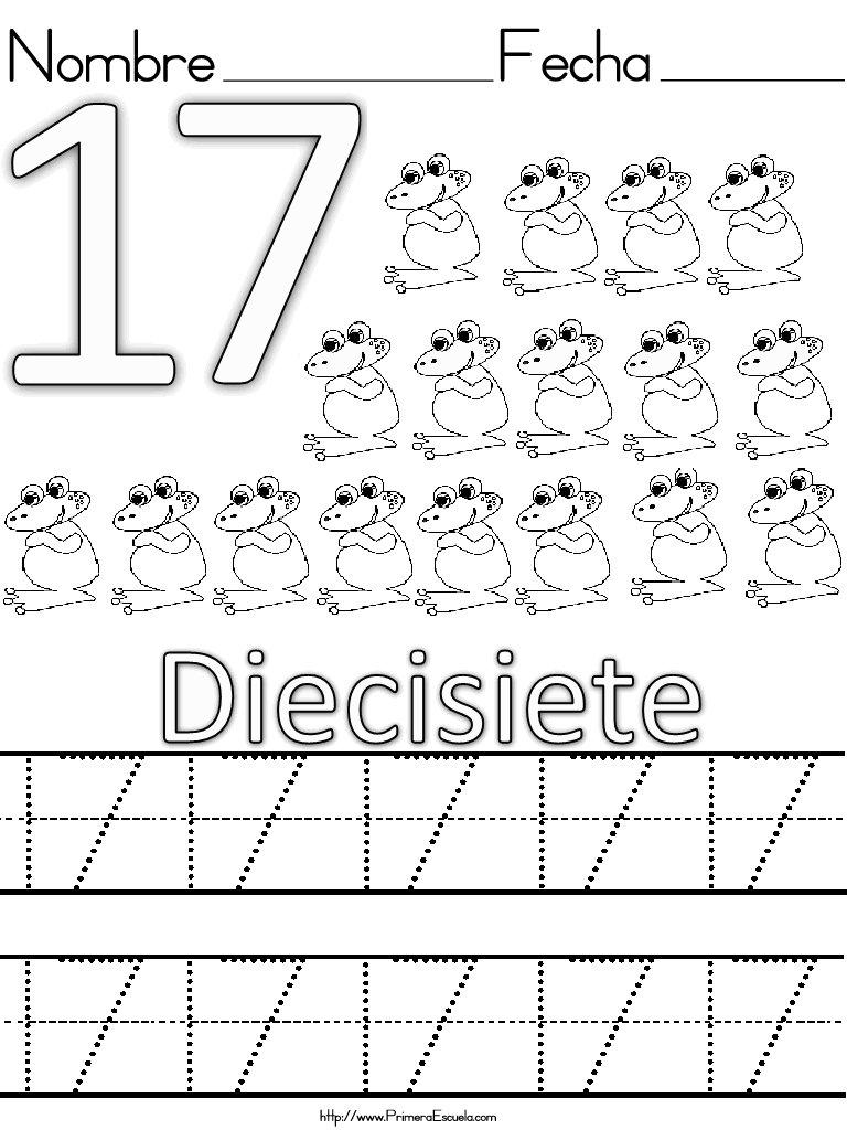 Grafomotricidad con números del 1 al 20 - Escuela en la nube