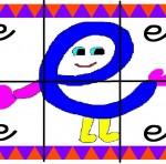 e 150x148 Crea entretenidos puzzles con las letras del abecedario