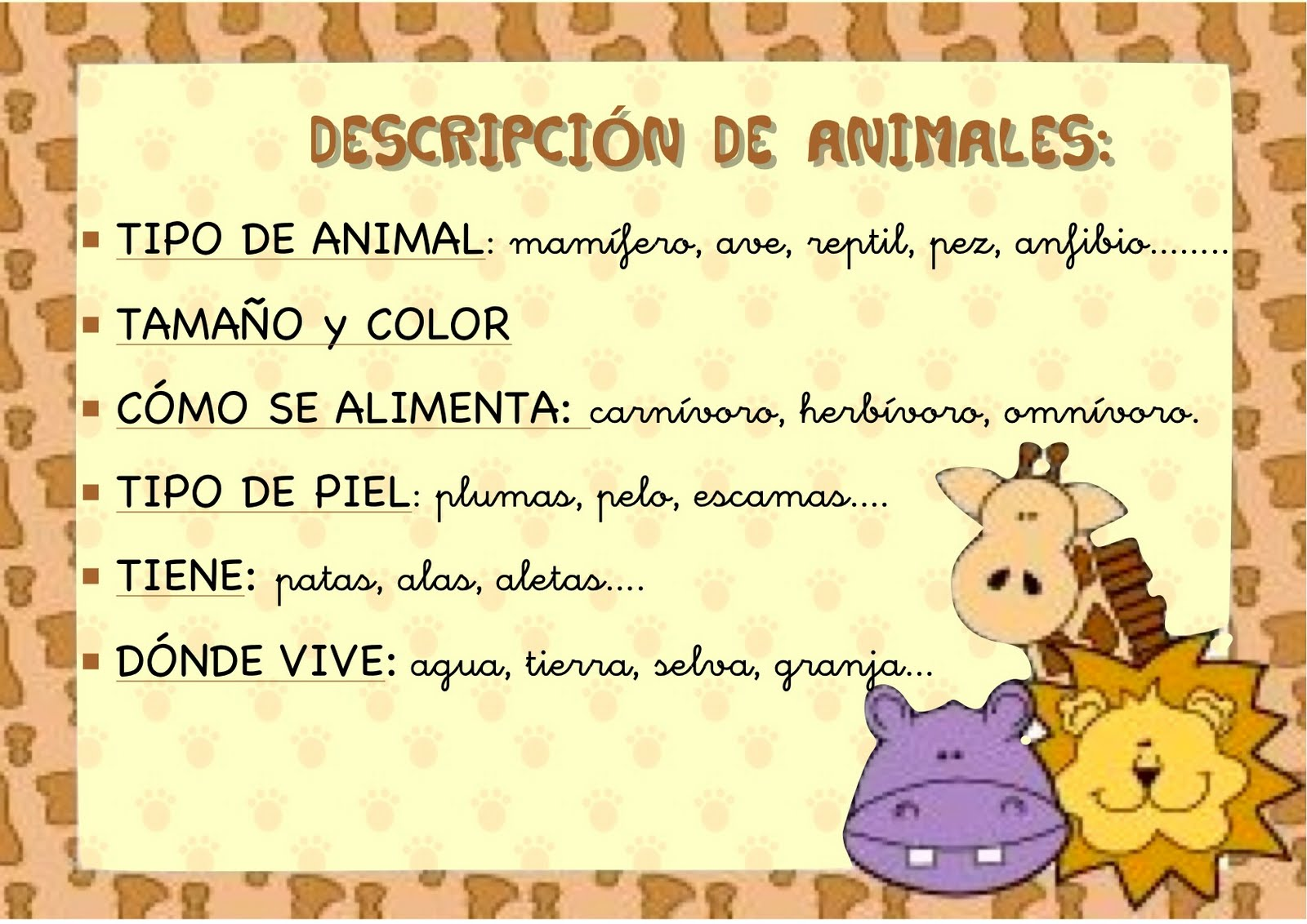 Describir animales
