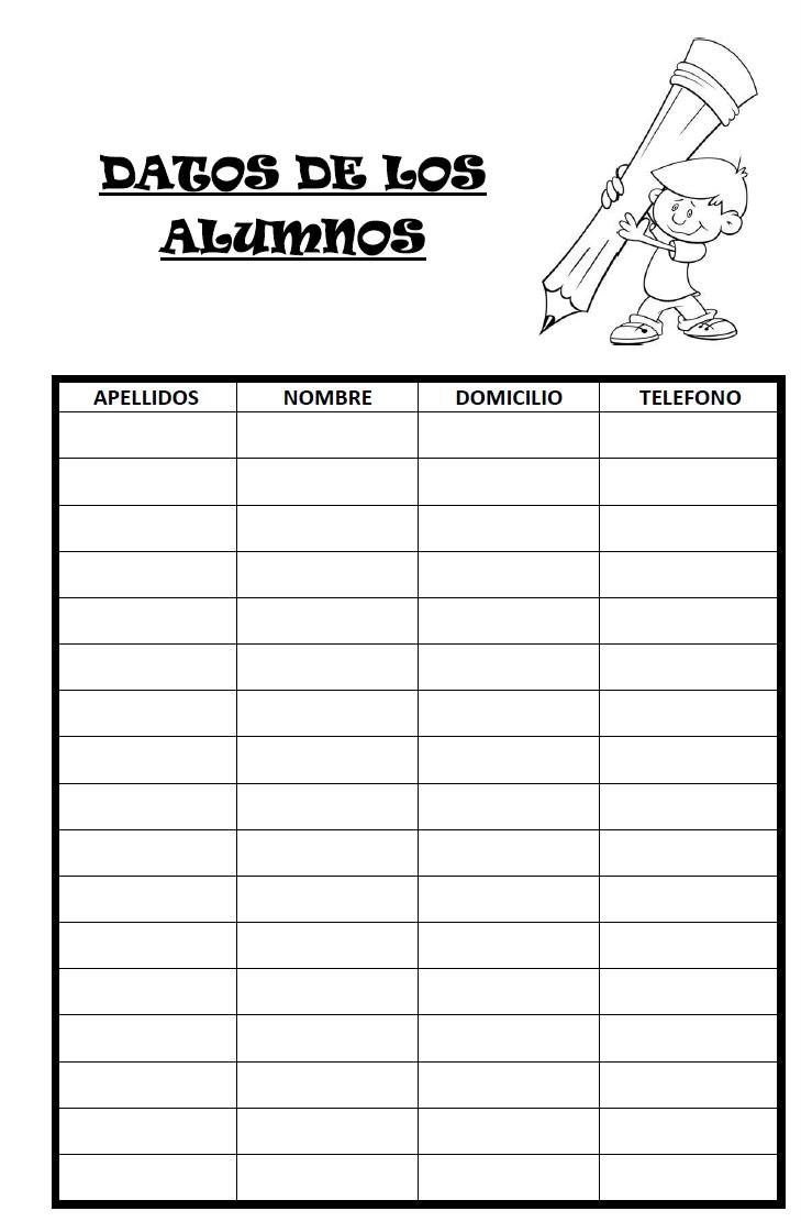 modelos de fichas para los alumnos de la clase