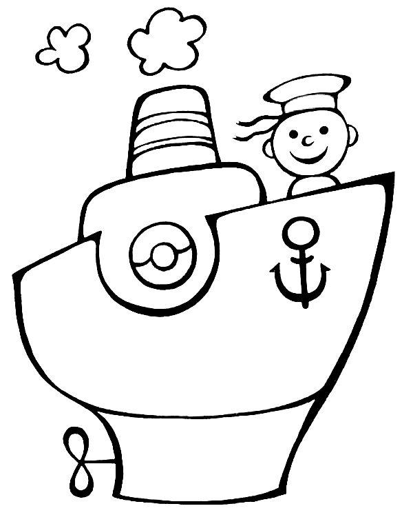 Dibujos de transportes para colorear: Por mar van - Escuela