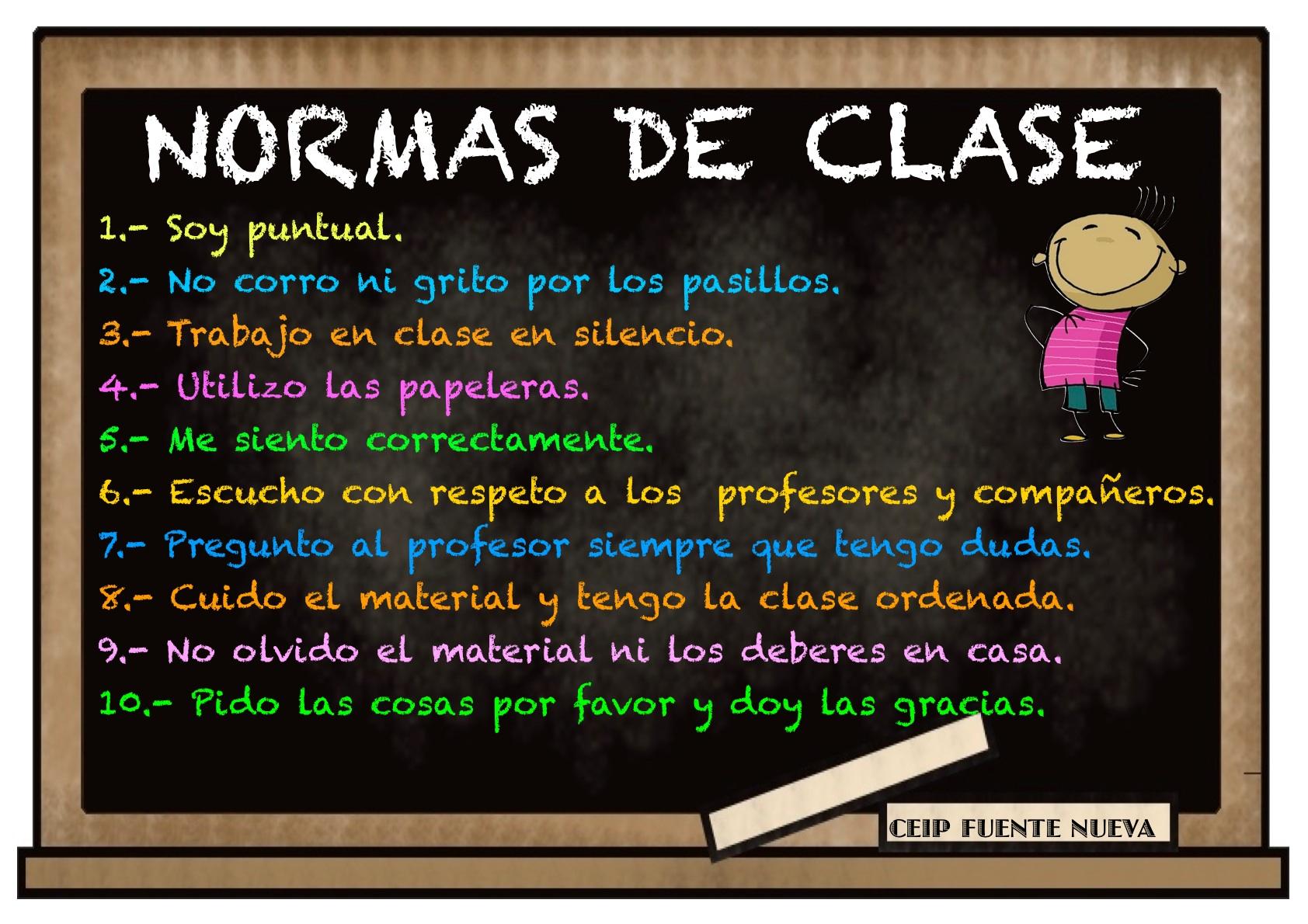 Normas de comportamiento en clase for 10 reglas del salon de clases en ingles