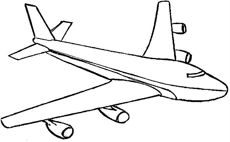 Раскраска самолет для детей 3-4 лет