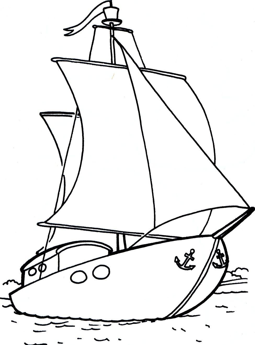 лодка с парусом раскраска
