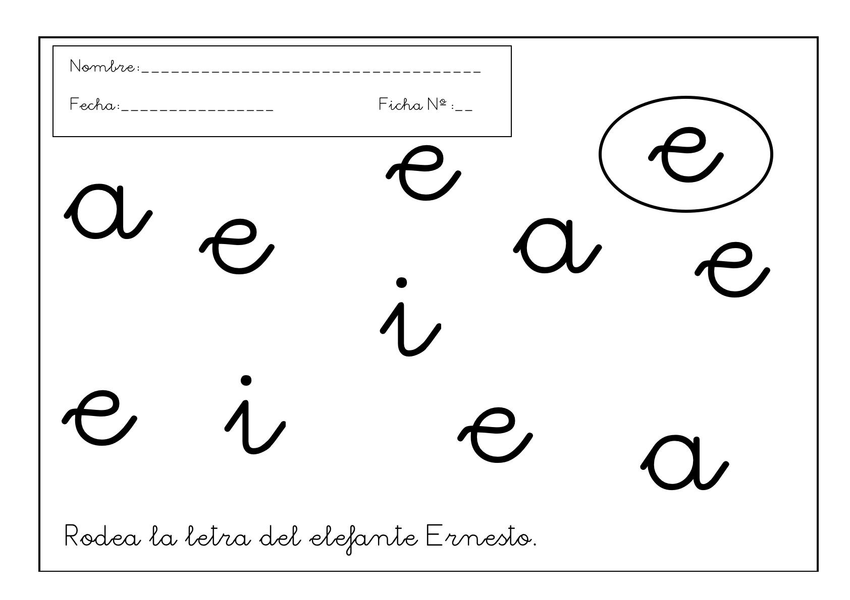grafomotricidad letra e
