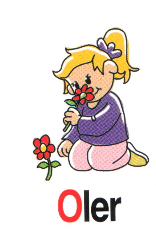 Niña oliendo una flor para colorear - Imagui