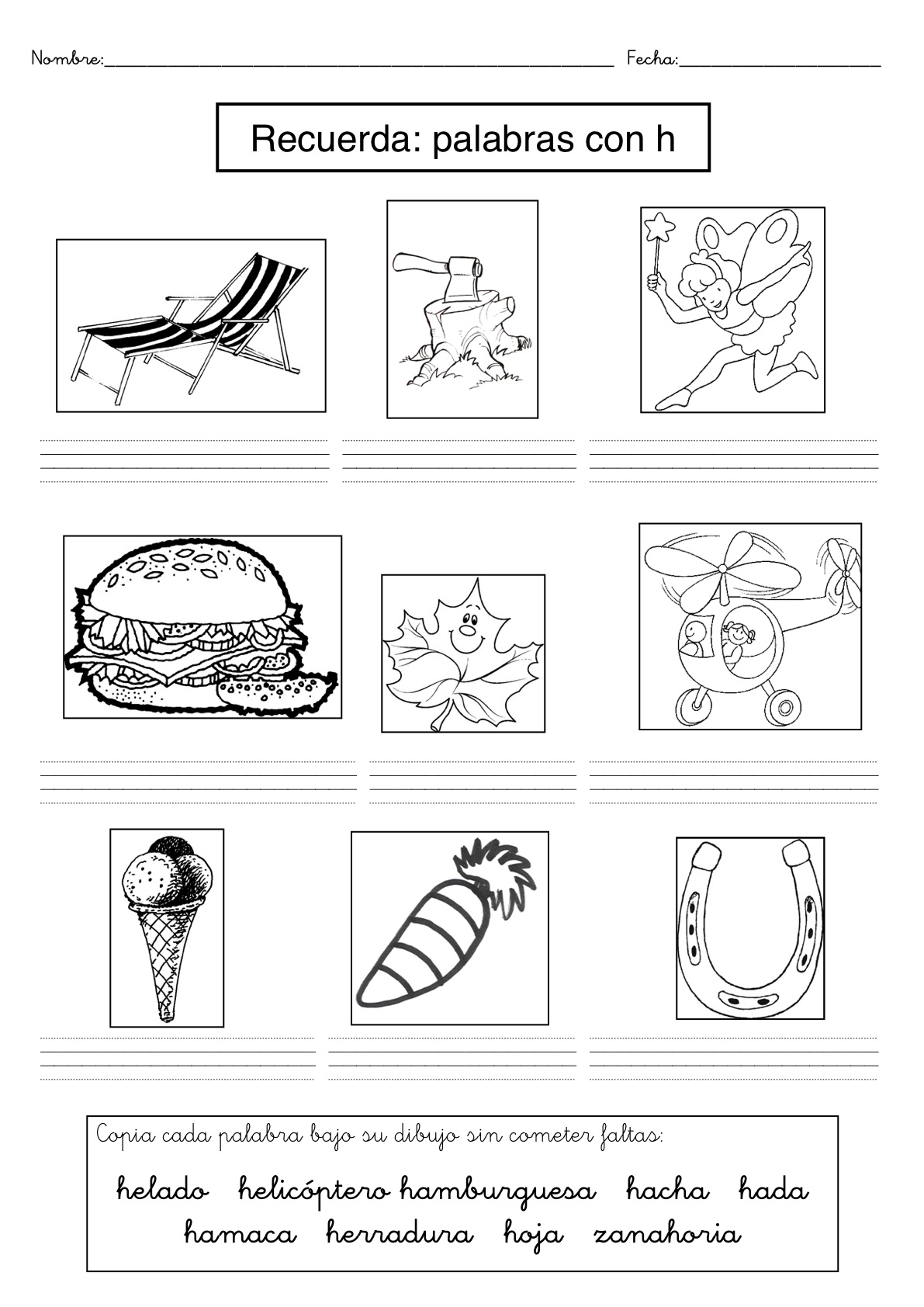 Recursos para el aula: Fichas de dificultades ortográficas