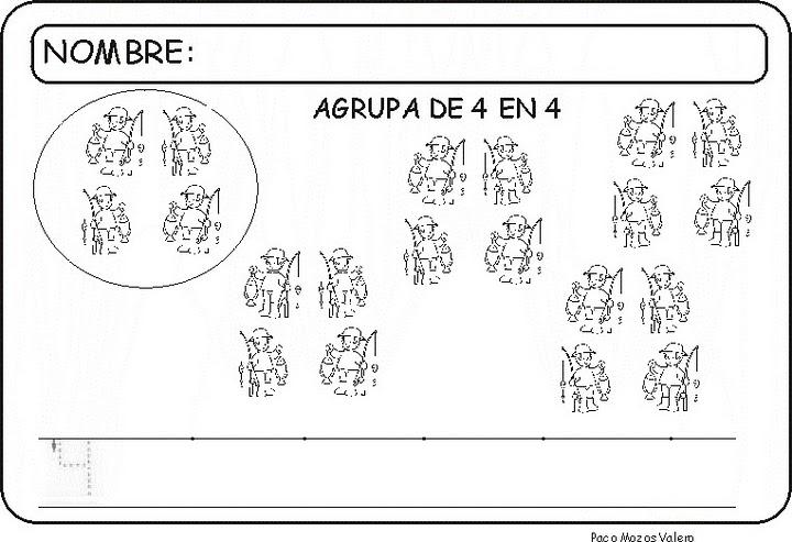 Recursos para el aula: Fichas para trabajar el número 4