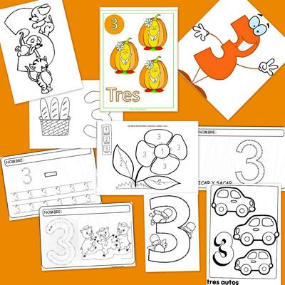 numeros, recursos para el aula, numero tres, 3, tres, grafomotricidad, dibujos para colorear