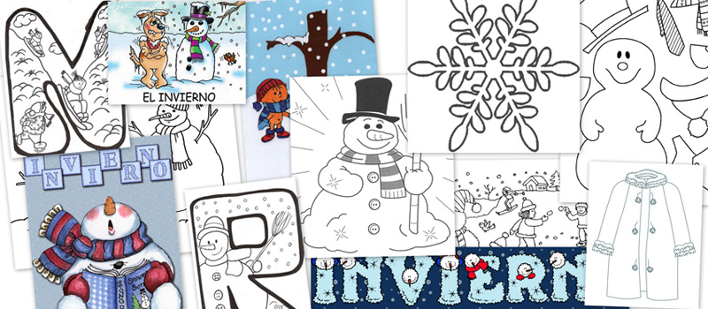 colorear invierno, fichas invierno, estaciones del año, el invierno, dibujos colorear, recursos aula, educacion infantil, recursos infantil
