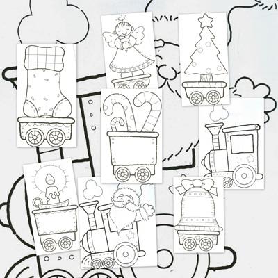 Dibujos para colorear: el tren de la navidad