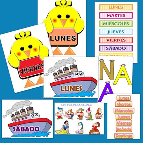 Carteles para aprender los dias de la semana y decorar la clase
