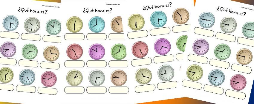 relojes, las horas, aprender las horas, que hora es, fichas para imprimiir