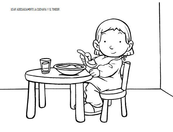 Normas en el aula para colorear y aprender for Dibujo de comedor escolar
