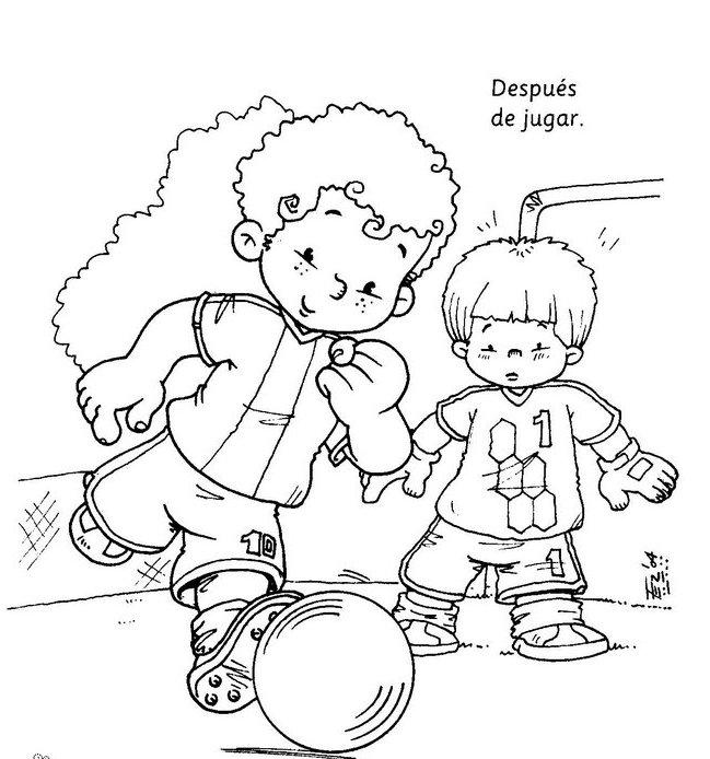 Niños lavándose las manos para colorear - Imagui