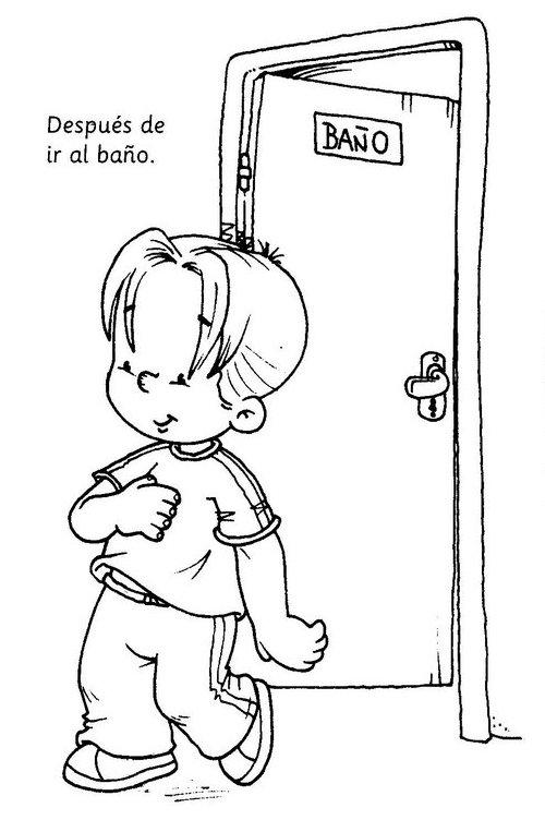 Baños Infantiles Para Colorear:Dibujos para colorear para enseñar higiene personal en los niños