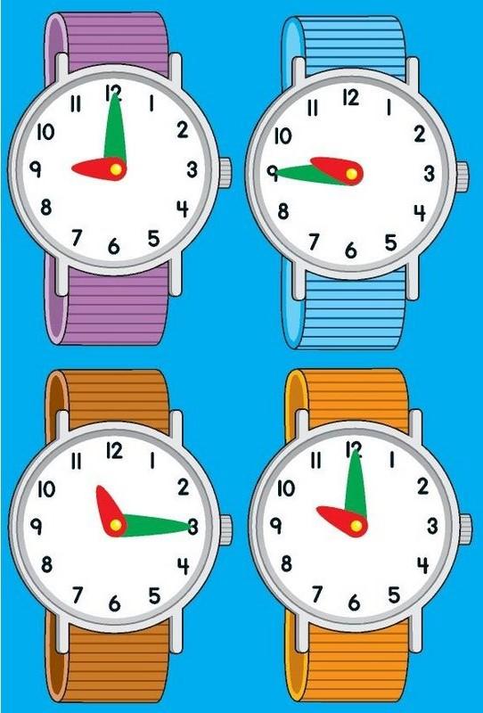 Fichas para imprimir y aprender las horas del reloj
