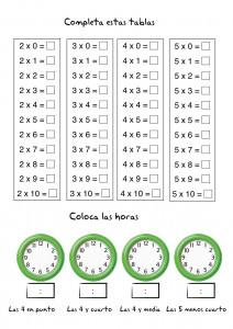 Multiplicación: Tablas de multiplicar y fichas de multiplicación
