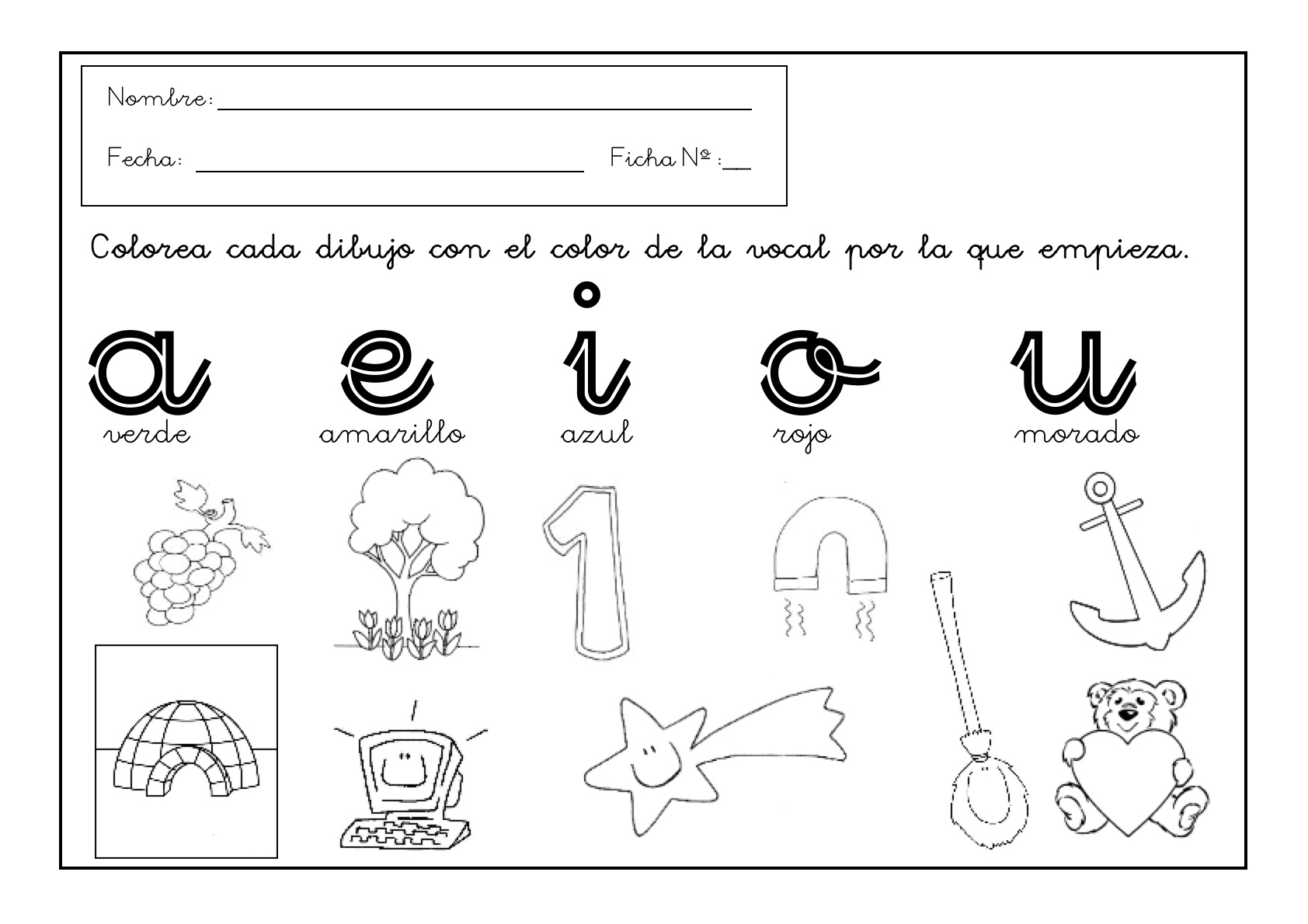 Grafomotricidad con vocales. Fichas de infantil - Escuela en la nube
