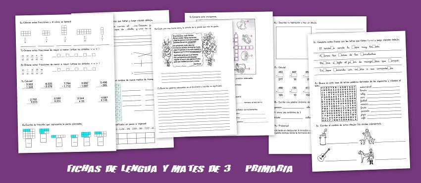 Fichas de Matematicas y lengua para imprimir y repasar