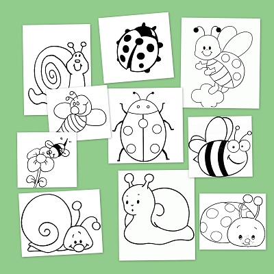 Una escuela en la Nube: Dibujos para colorear: Insectos en primavera