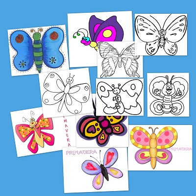 Mariposas para colorear y decorar en primavera