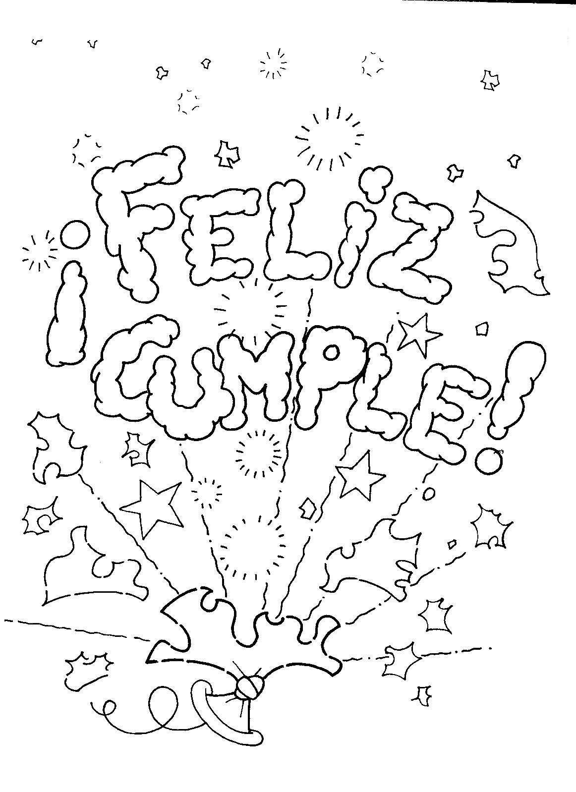 Feliz cumpleaños letras para colorear - Imagui
