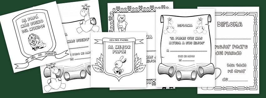 Diplomas para colorear del Día del Padre - Escuela en la nube