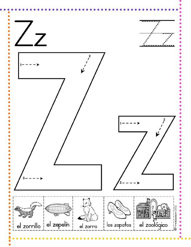 Famoso Letra Z Para Colorear Kindergarten Festooning - Páginas Para ...