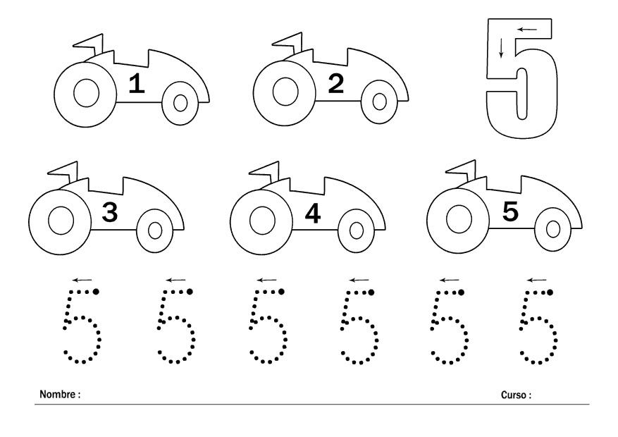 Fichas para trabajar los números del 1 al 5 - Escuela en la nube