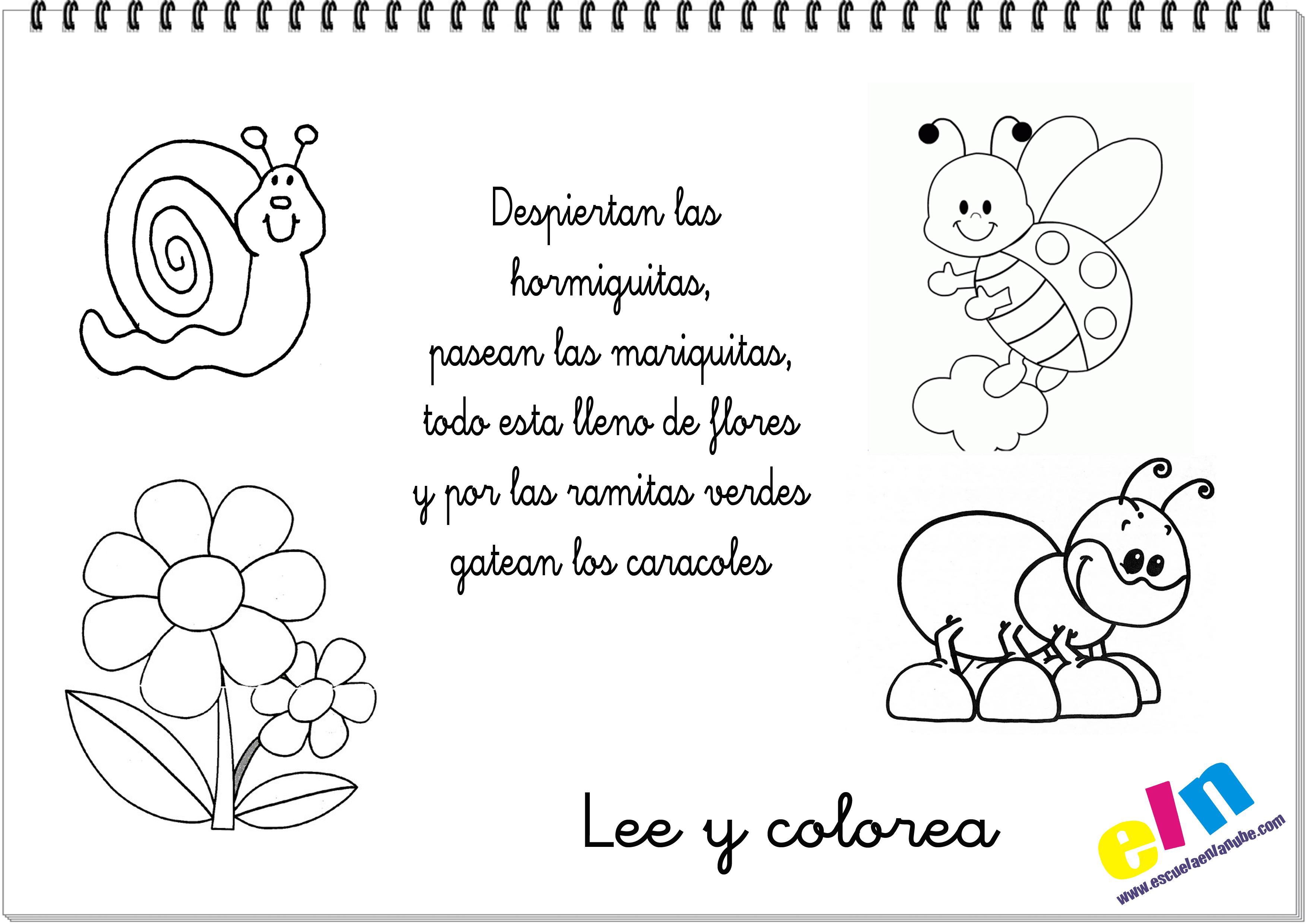 Lee y colorea poemas para la primavera