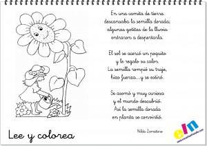 Lee y colorea poemas de la primavera