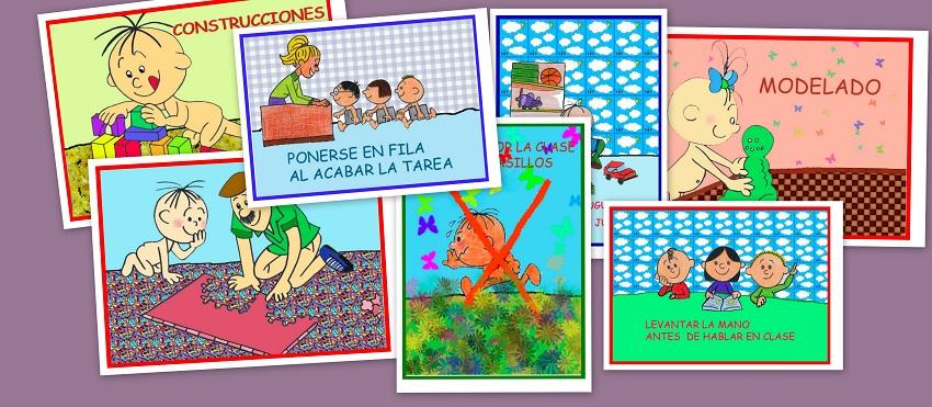 Tarjetas de rincones y comportamientos en clase