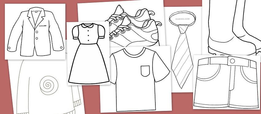 Dibujos para colorear: Fichas de prendas de vestir