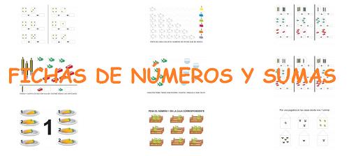 FICHAS DE NÚMROS Y SUMAS