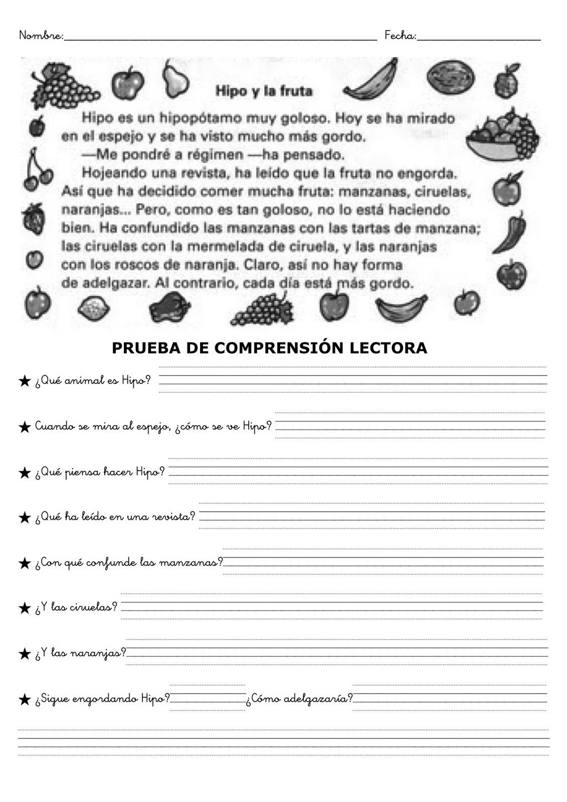 Fichas de comprensión lectora