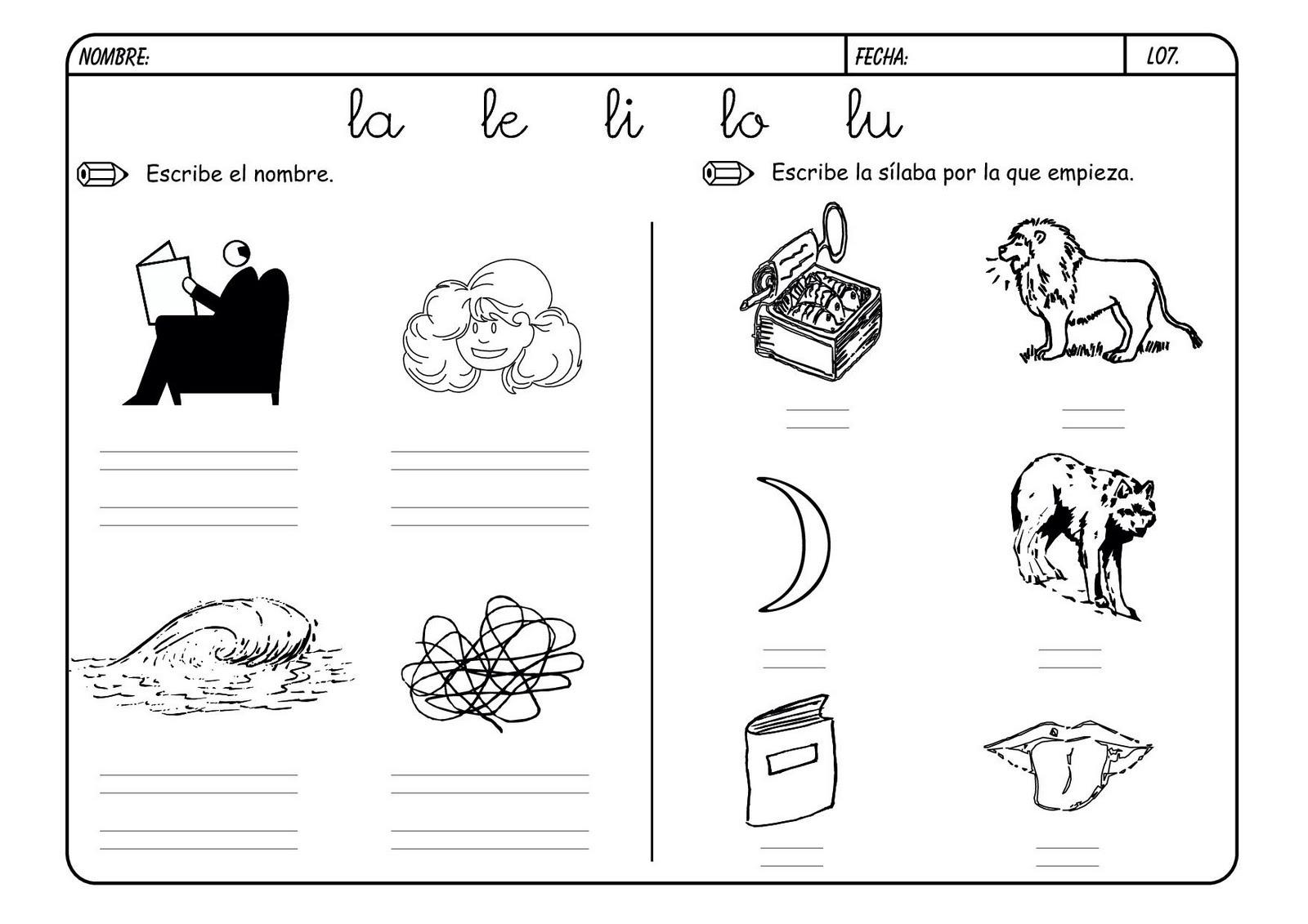 Lectoescritura con la letra l escuela en la nube for L practicas