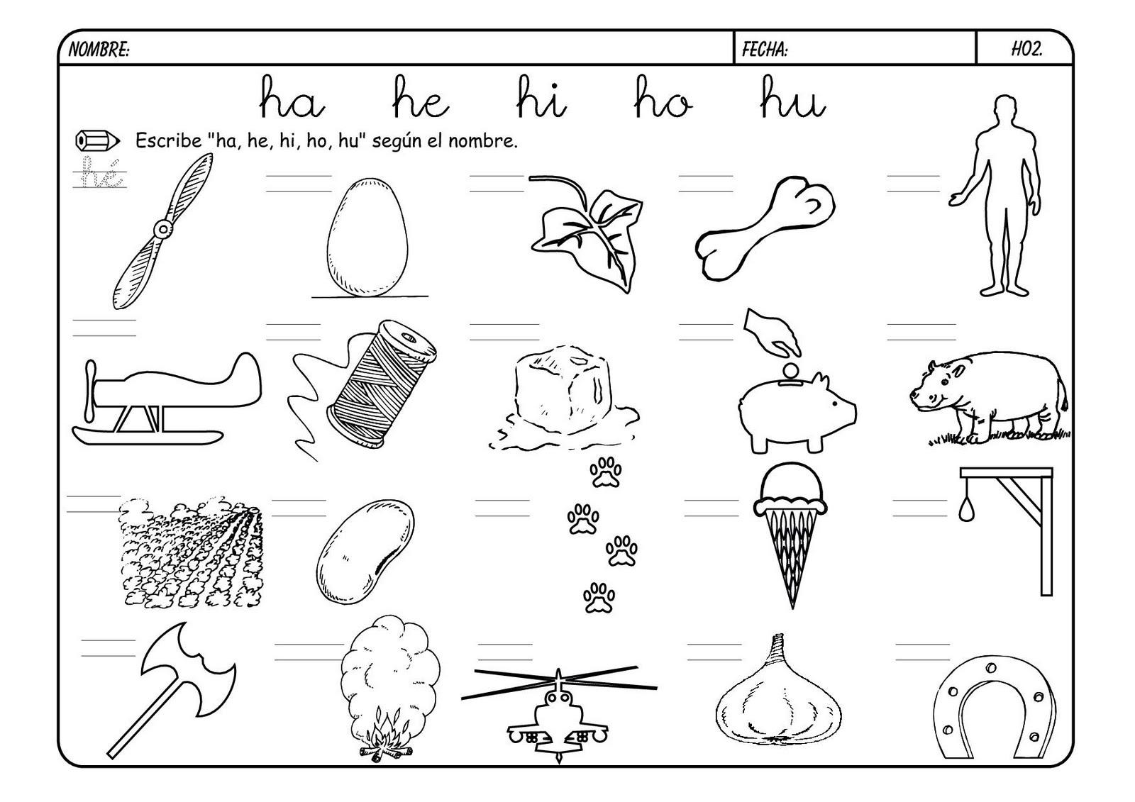 dibujos letra h para colorear