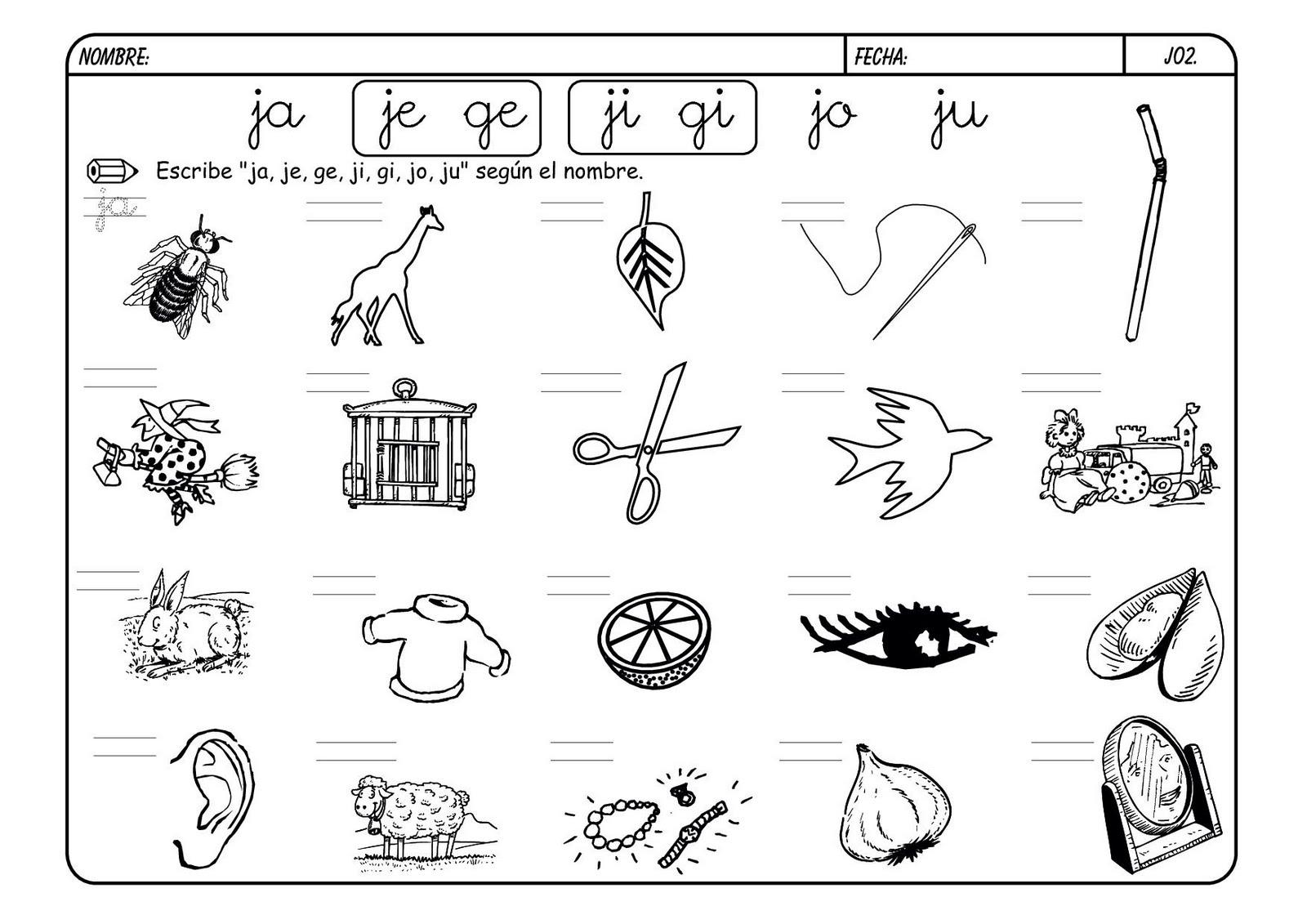 paginas para colorear letra g palabras
