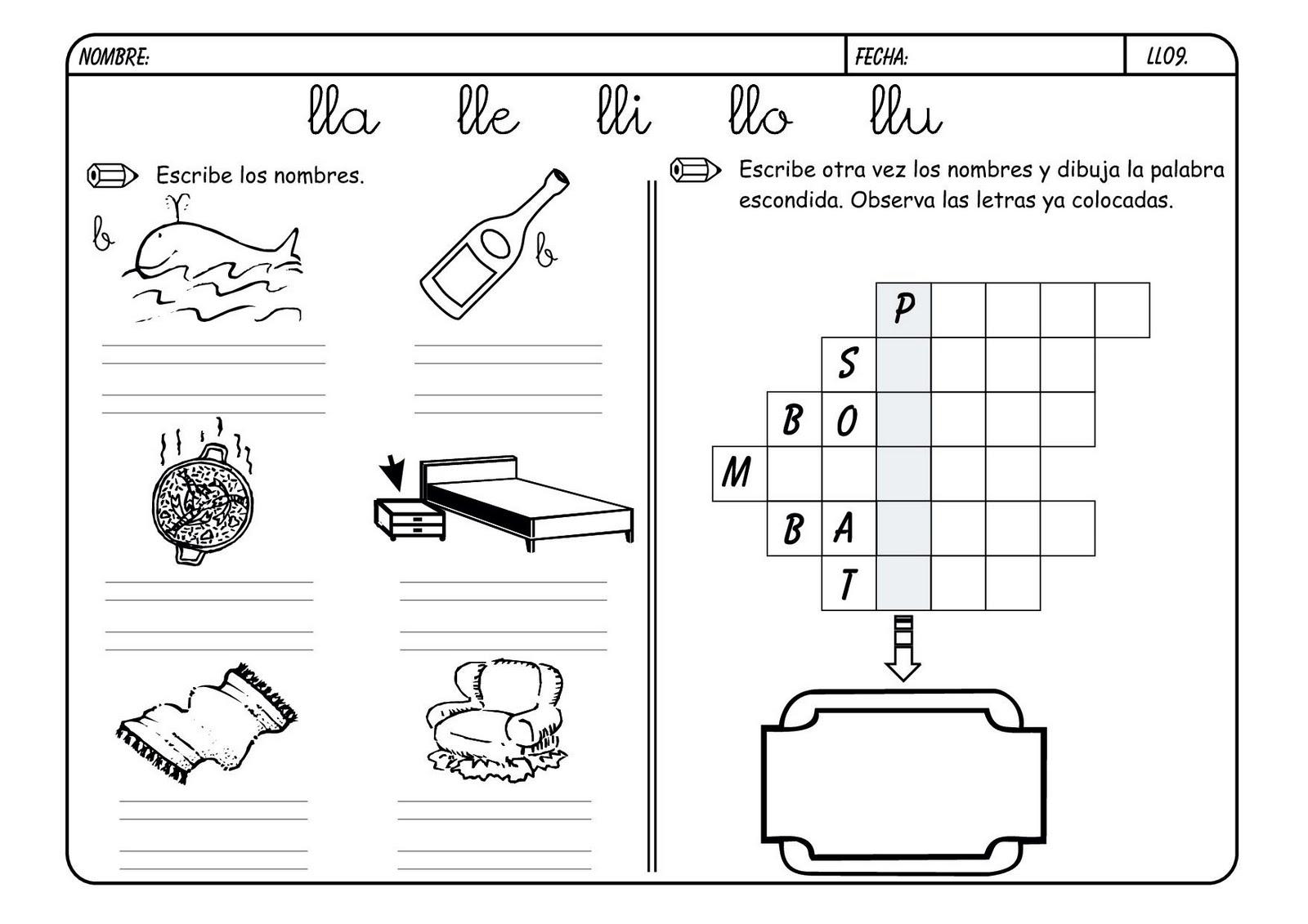 Fichas de lectoescritura y vocabulario con la ll for L practicas